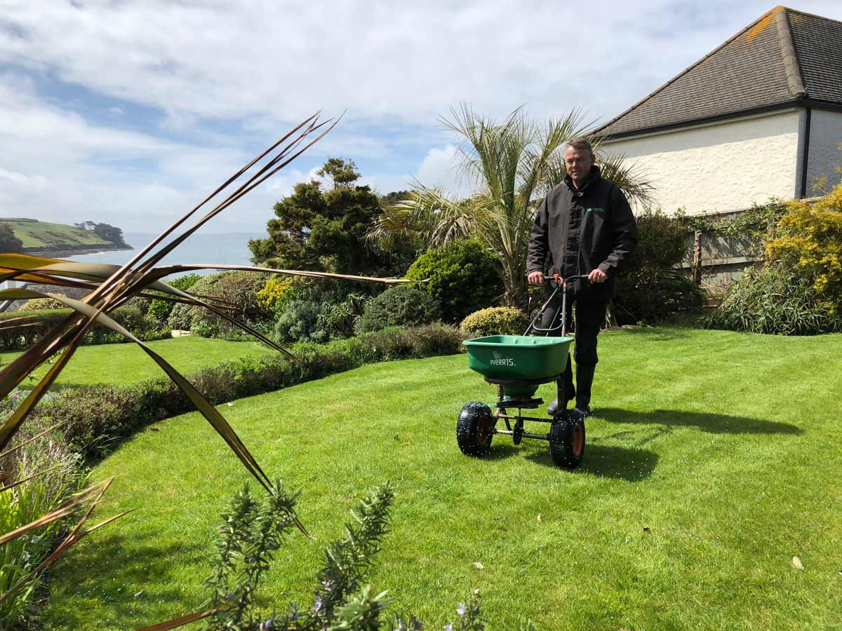 Cornwall Lawn Care working on client lawn