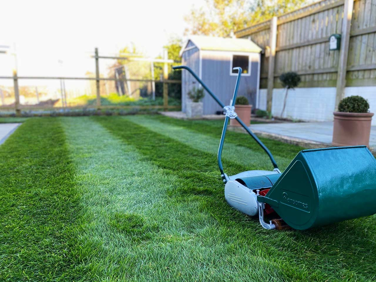 Lawn Care Cornwall client in Truro's mowed perfect grass